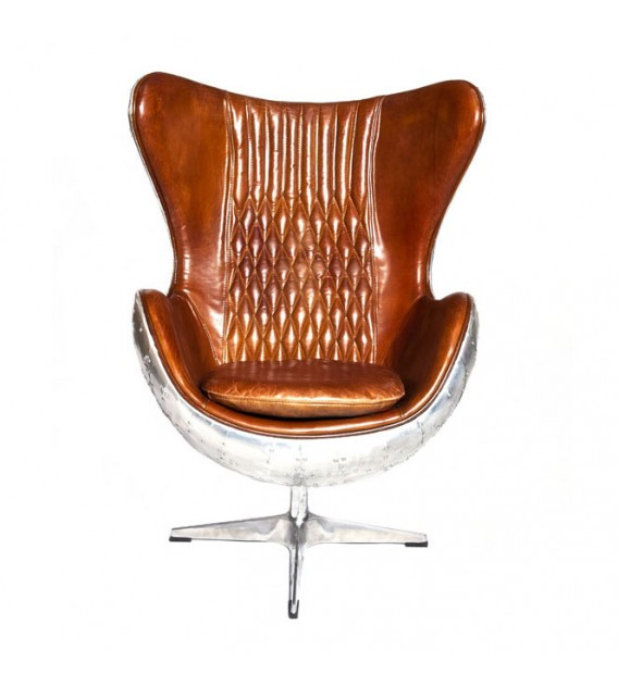 Egg Chair Roze.Admiral Brown Leather And Aluminium Egg Chair