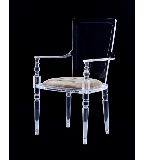 Laurence Lucite Acrylic Dining Chair with Chesterfiled ...